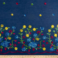 Telio Denim Chambray Single Border Embroidery Medium Blue