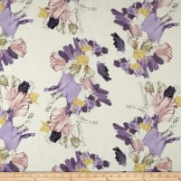 Telio Digital Linen Silk Voile Print Floral Off White Purple