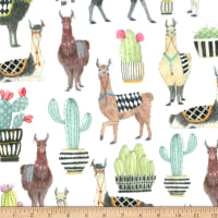Michael Miller Minky Lovely Llamas Lovely Llamas White