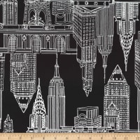 Michael Miller Minky New York, New York Manhattan Skyline Black