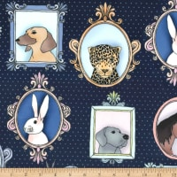 Michael Miller Minky Animal Portraits Animal Portraits Navy