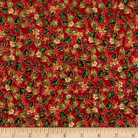 Christmas Memories Holly Metallic Red
