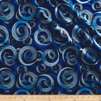 Kanvas Blue Brilliance Shimmer Swirl Metallic Navy