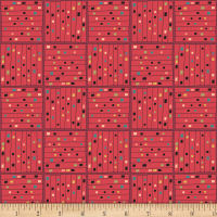 Contempo Printology Gridwork Red