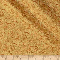 Autumn Leaves Garden Vine Scroll Metallic Butternut