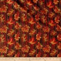 Autumn Leaves Wave Leaf Metallic Multi