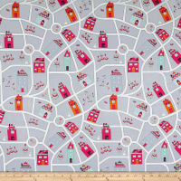 Stof Fabrics Denmark ABCDairies Streets & Homes Grey