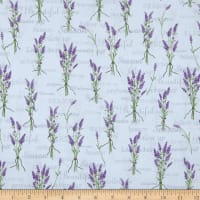 Stof Lavender Story Words & Flowers Off White