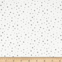 Stof Amazing Stars Tiny Stars Metallic Silver/White