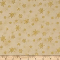 Stof Amazing Stars Snowflakes Metallic Gold/Cream