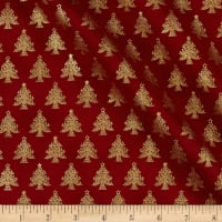 Stof Amazing Stars Christmas Trees Metallic Gold/Dark Red