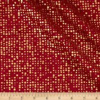 Stof Fabrics Denmark Amazing Stars Dots Metallic Gold/Dark Red