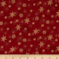 Stof Amazing Stars Snowflakes Metallic Gold/Dark Red