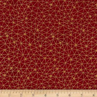Stof Fabrics Denmark Amazing Stars Grid With Stars Metallic Gold/Dark Red