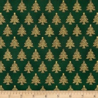 Stof Amazing Stars Christmas Trees Metallic Gold/Dark Green