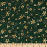 Stof Amazing Stars Snowflakes Metallic Gold/Dark Green