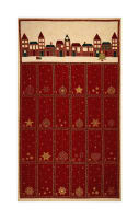 "Stof Amazing Stars Advent Calendar 24"" Panel Metallic Gold/Dark Red"