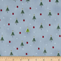 Stof Fabrics Denmark Snow House Tiny Presents & Christmas Trees Blue