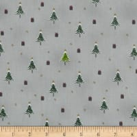Stof Fabrics Denmark Snow House Tiny Presents & Christmas Trees Grey