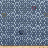 Stof Fabrics Denmark Snow House Outlined Hearts Blue
