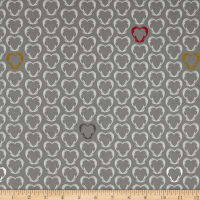 Stof Fabrics Denmark Snow House Outlined Hearts Beige