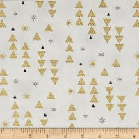 Stof Fabrics Denmark Starlight Triangles & Stars On Metallic Gold/White