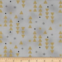 Stof Fabrics Denmark Starlight Triangles & Stars On Metallic Gold/Grey