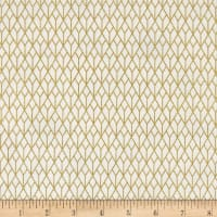 Stof Fabrics Denmark Starlight Grid On Metallic Gold/White