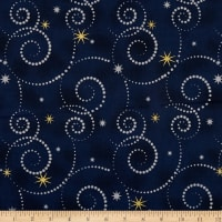 Stof Starlight Stars & Swirls On Metallic Gold/Royal Blue