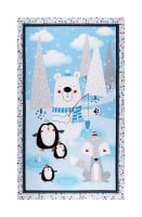 "Polar Pals 2 Novelty 25"" Panel Flannel Blue"