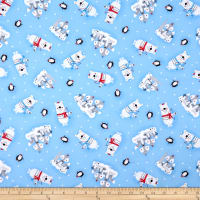 Polar Pals 2 Tossed Animals Flannel Blue