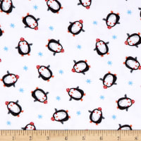 Polar Pals 2 Penguins Flannel White