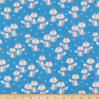 Polar Pals 2 Foxes Flannel Blue