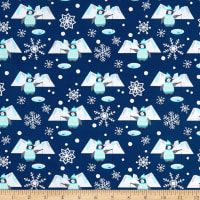 Snow Happy Fishing Penguins Navy