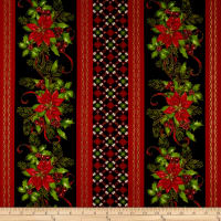 Christmas Village Poinsettia Border Stripe Black