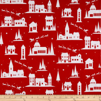 Peppermint Reindeer Village Red