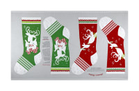 "Peppermint Reindeer 24"" Stocking Panel Red/Green"