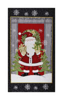 "Winter Greetings Santa 24"" Panel Black"