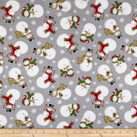 Winter Greetings Tossed Snowmen Gray