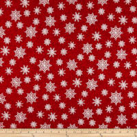 Winter Greetings Snowflakes Red