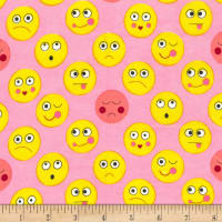 Michael Miller Funny Faces Flannel Funny Faces Pink