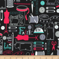 Michael Miller Sewing Circle Sew It Black