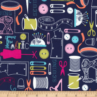 Michael Miller Sewing Circle Sew It Navy