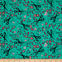 Michael Miller Sewing Circle Snip It Aqua
