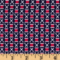 Michael Miller Sewing Circle Snip n' Spools Navy
