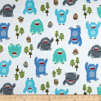 Michael Miller Bigfoot Boogie Flannel Bigfoot Boogie Blue