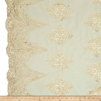 Starlight Beverly Sequined & Embroidered Mesh Lace Ivory/Gold