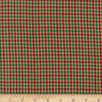 Rustic Woven Check Xmas Green/Red/Beige