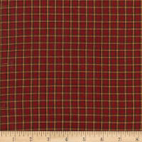 Rustic Woven Plaid Wine/Dk Green/Natural