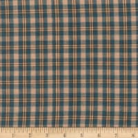 Rustic Woven Small Plaid Blue/Khaki/Natural